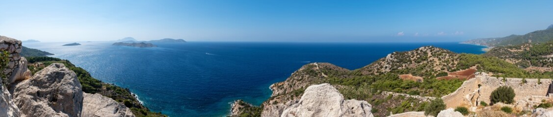 Panoramic view of sea from medieval castle Kritinia, blue sky (Rhodes, Greece)