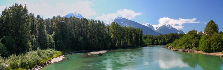 Beautiful day: Wonderful panoramic view of Skeena River in British Columbia / Canada