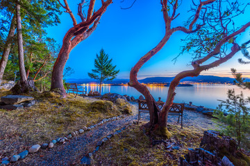 Wall Mural - Tranquil sunset and evening illuminations of the beautiful town of Nanaimo on Pacific Ocean in Vancouver, Canada.