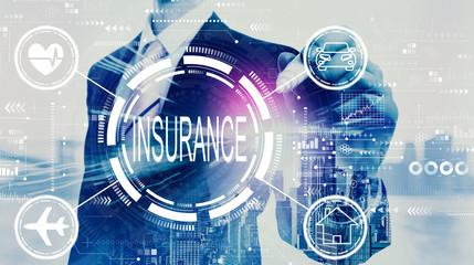 Photo sur Plexiglas Ecole de Danse Insurance concept with businessman on a city background