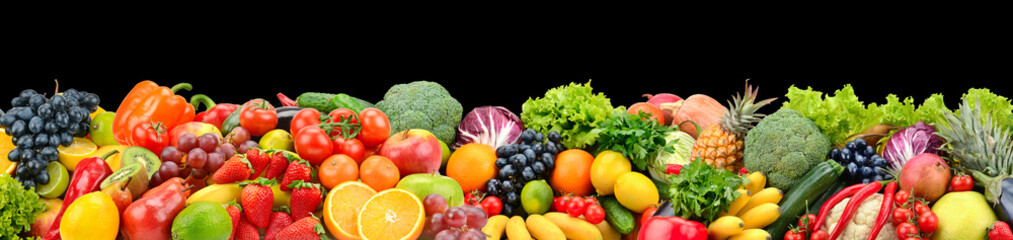 Wall Mural - Panoramic photo fruits and vegetables isolated on black