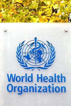 Geneva, Switzerland - October 1, 2017:WHO logo on a panel.The World Health Organization also called WHO is a specialized agency of the United Nations that is concerned with international public health