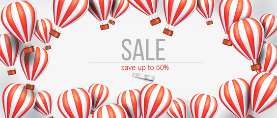 3d Realistic hot air balloon red and white color flyer or banner template for sale. Vector illustration