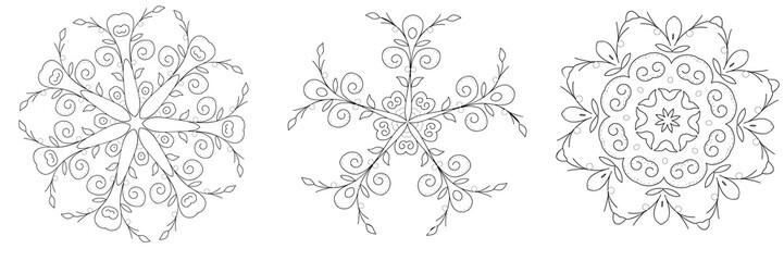 Set of vector Design Element. Floral symmetrical geometrical symbol. Wall mural