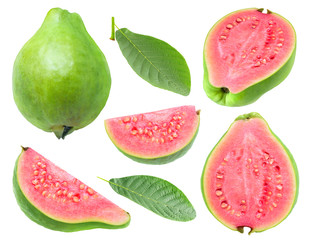 Isolated guava. Collection of green pink fleshed guava fruit pieces and leaves isolated on white background with clipping path