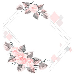 Decorative watercolor frame of leaves, wildflowers and branches on a white background. Frame for design cards, wedding invitations with free space for your text