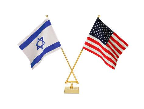 二つの国の卓上国旗