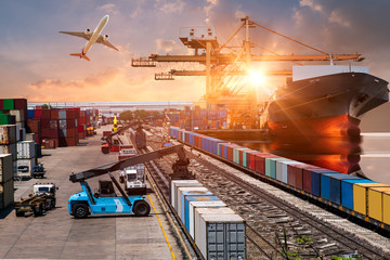 Wall Mural - Global business of Container Cargo freight train for Business logistics concept, Air cargo trucking, Rail transportation and maritime shipping, Online goods orders worldwide