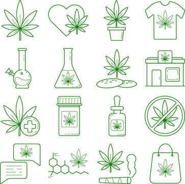 set of vector icons medical cannabis