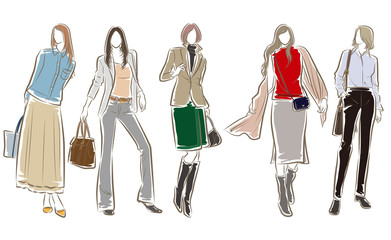女性のファッションイラスト