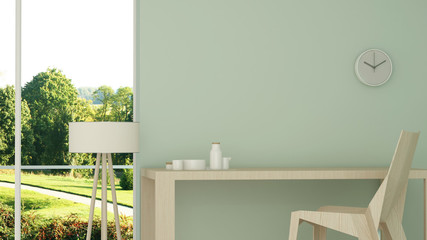 Wall Mural - The interior minimal relax space 3d rendering and nature view background