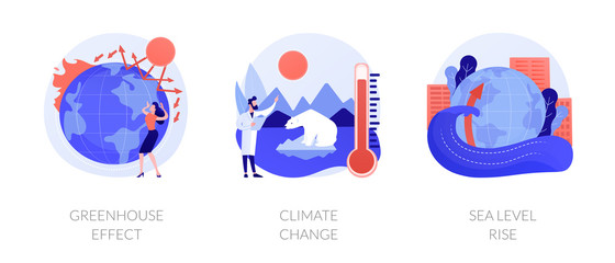 Wall Murals Height scale Greenhouse effect, climate change, sea level rise. Global warming effect. Ultraviolet radiation, food contamination, acid rain metaphors. Vector isolated concept metaphor illustrations.