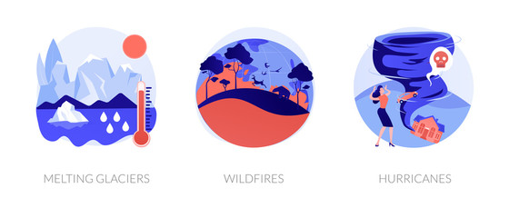 Global warming disasters, cataclysms, climate change consequences. Nature damage, destructions. Glaciers, wildfires, hurricanes metaphors. Vector isolated concept metaphor illustrations.