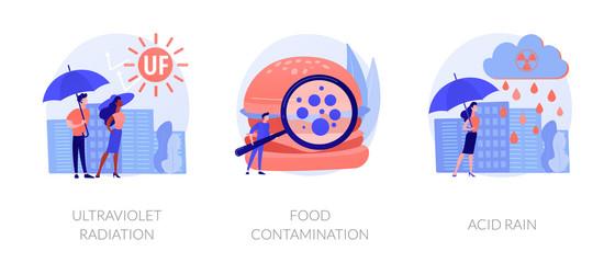 Radioactive effect, Earth atmosphere pollution, damage to human health. Ultraviolet radiation, food contamination, acid rain metaphors. Vector isolated concept metaphor illustrations.