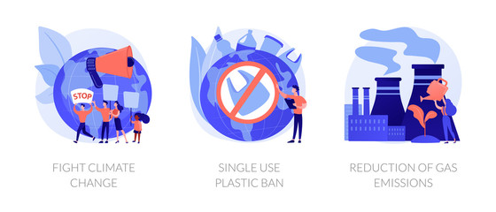 Zero waste vector icons set. Fight climate change, single use plastic ban, reduction of gas emissions metaphors. Global warming problems solutions. Vector isolated concept metaphor illustrations