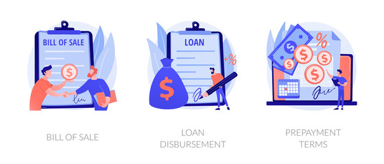 Financial agreement signing flat icons set. Legal document, business papers. Bill of sale, loan disbursement, prepayment terms metaphors. Vector isolated concept metaphor illustrations.