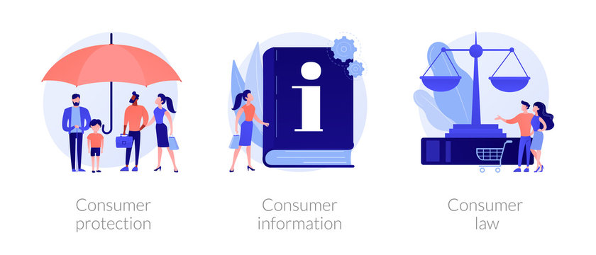 Customer rights and responsibilities. Buyer seller relationship regulations. Consumer protection, consumer information, consumer law metaphors. Vector isolated concept metaphor illustrations.
