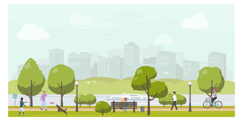 Foto op Canvas Lichtblauw Public city park landscape flat illustration. Stock vector. People relaxing in city park, walking, playing with dog, riding bicycle.
