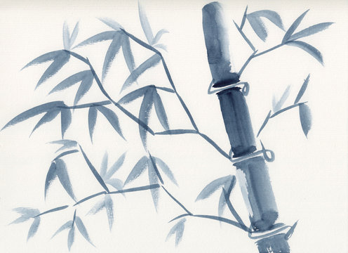 Watercolor painting of asian bamboo stem with leaves in sumie-e ink style. Hand drawn oriental style serene landscape. Concept for decoration, relaxation, restore, mindful meditation background.