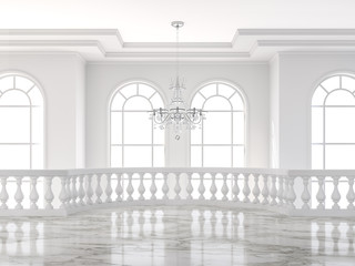 Empty luxury classical mazzanine floor 3d render,There are white marble floor decorated with ceramic railing and glass chandelier. Wall mural