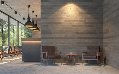 Wall Mural - Loft style coffee shop with nature view 3d render,There are polished concrete floors, wood plank stamped concrete walls, decorate with  brown leather furniture,Large window overlooking green garden.