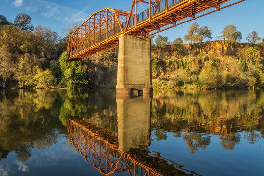 The Fair Oaks Bridge crosses over the American River in Fair Oaks, California