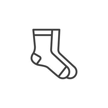 Pair of socks line icon. linear style sign for mobile concept and web design. Classic socks outline vector icon. Symbol, logo illustration. Vector graphics