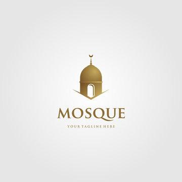 mosque logo islamic symbol gold color minimalist vector icon illustration