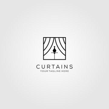 curtains logo line art art show vector illustration design