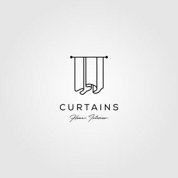 line art curtains logo simple vector illustration design