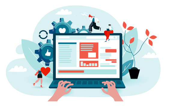 User surfs the internet, reads the news portal. Hands are typing on a laptop. Little characters help to find information. Blue and red colored vector illustration EPS 10 isolated on white