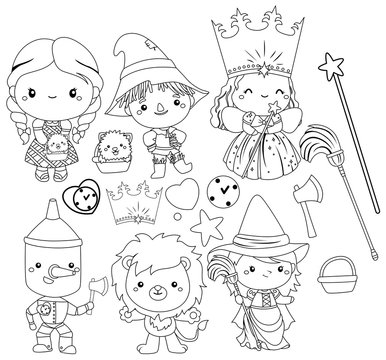a vector of wizard of oz characters in black and white