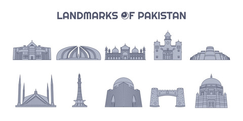 Landmarks of Pakistan Line Art Illustrations Collection, Silhouettes Icons Set, Pakistani Skyline Fotomurales