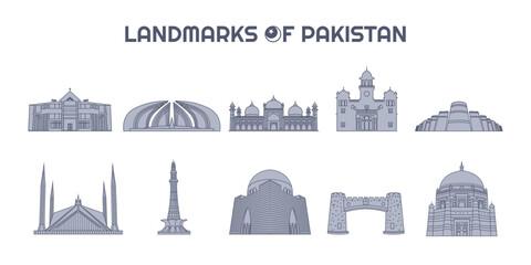 Landmarks of Pakistan Line Art Illustrations Collection, Silhouettes Icons Set, Pakistani Skyline Fototapete