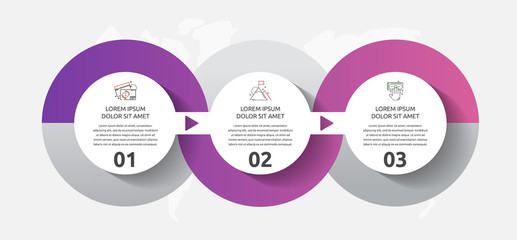 Vector template circle infographics. Business concept with 3 options and parts. Three steps for content, flowchart, timeline, levels