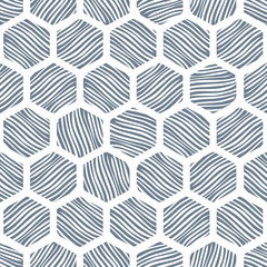 Seamless honeycomb pattern with hand drawn textures.