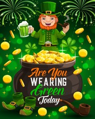 Irish party, leprechaun smoking pipe, Saint Patricks day celebration. Vector pot of gold, fireworks and cartoon character drinking beer, green shoes. Spring holiday symbols, shamrock or clover leaves
