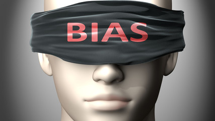 Bias can make things harder to see or makes us blind to the reality - pictured as word Bias on a blindfold to symbolize denial and that Bias can cloud perception, 3d illustration