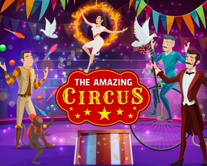 Vintage circus show, magic performance, animal tamers and acrobats on arena. Vector big top circus tent, juggler with pins and monkey juggling balls, magician illusionist and equlibrist on aerial hoop