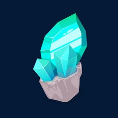 Blue crystal gem, jewel rock turquoise mineral stone. Vector natural green or blue gemstone, opal or quartz glass, jewelry and geology mineral crystal
