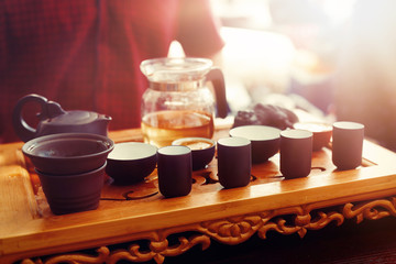 Tea set for tea ceremony. Tea ritual.
