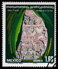 Water god Tlaloc, stone sculpture (Mexico 1980)