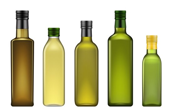 Olive oil bottles realistic 3d template mockup, vegetable oils blank glass package. Vector extra virgin avocado, pomace or olive and sesame seeds oil bottle with metal green lid