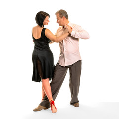 Expressions of tango 04 - couple isolated on white background