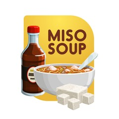 Miso soup, soy food products and healthy vegetarian eating. Vector Japanese cuisine miso soup in bowl with soya cheese or tofu curd and saoy sauce, organic healthy food
