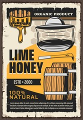 Natural honey production, beekeeping apiary and apiculture farm vintage retro poster. Vector lime flower honey in wooden barrels and dipper spoon with flowing splash, organic product honeycomb