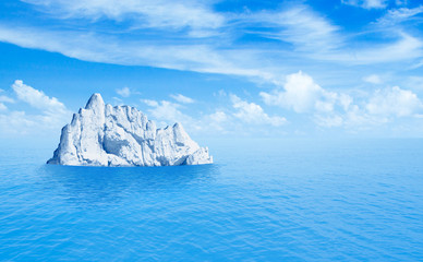 Iceberg in ocean. 3d illustration.