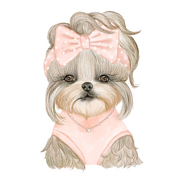 adorable puppy dog cute with ribbon watercolor illustration