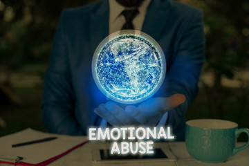 Writing note showing Emotional Abuse. Business concept for demonstrating subjecting or exposing another demonstrate behavior Elements of this image furnished by NASA