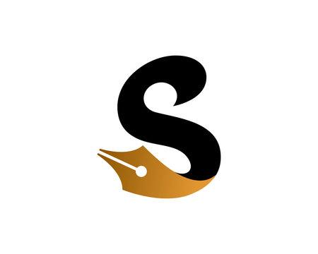 Letter S Write logo template design, emblem, symbol or icon